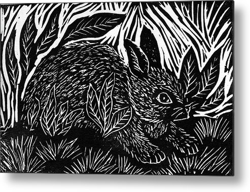 Lino Metal Print featuring the mixed media Cottontail Block Print by Ellen Miffitt