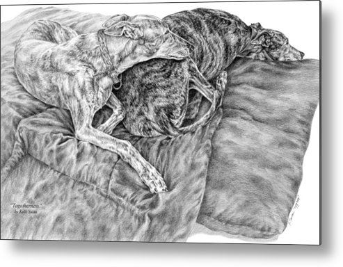 Greyhound Metal Print featuring the drawing Togetherness - Greyhound Dog Art Print by Kelli Swan