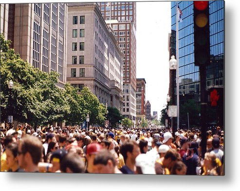 Boston Metal Print featuring the photograph Crosswalk by Brian Nogueira