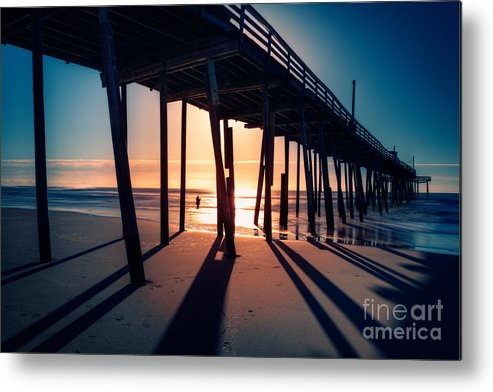 Outer Banks Metal Print featuring the photograph Fishing At Frisco Outer Banks by Dan Carmichael