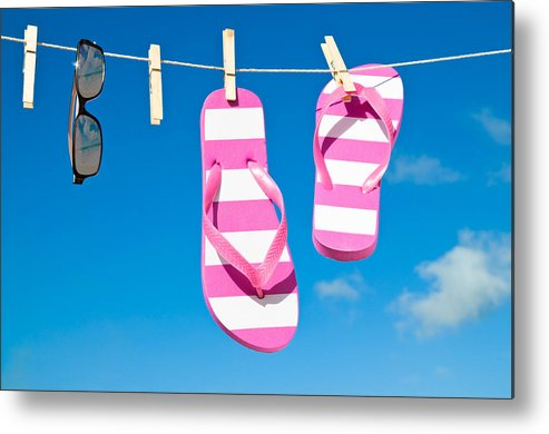 Washing Metal Print featuring the photograph Holiday Washing Line by Amanda And Christopher Elwell
