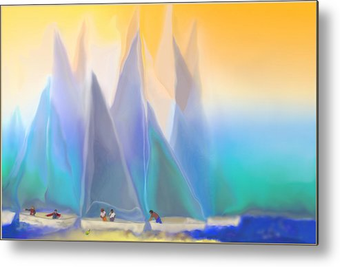 Summer Metal Print featuring the digital art Smooth Sailing by Mathilde Vhargon