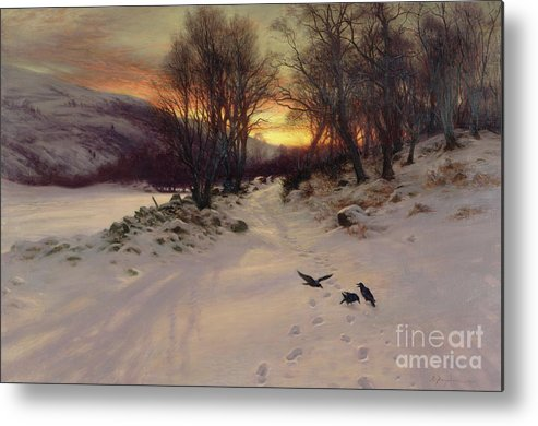 Winter Metal Print featuring the painting When The West With Evening Glows by Joseph Farquharson