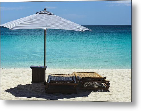 Beach Scene Metal Print featuring the photograph Beach Scene With Lounger And Umbrella by Paul W Sharpe Aka Wizard of Wonders