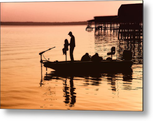 Fishing Metal Print featuring the photograph Fishing With Daddy by Bonnie Barry