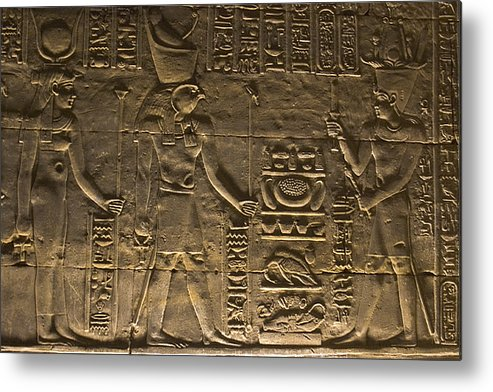 Africa Metal Print featuring the photograph Hieroglyph At Edfu by Darcy Michaelchuk