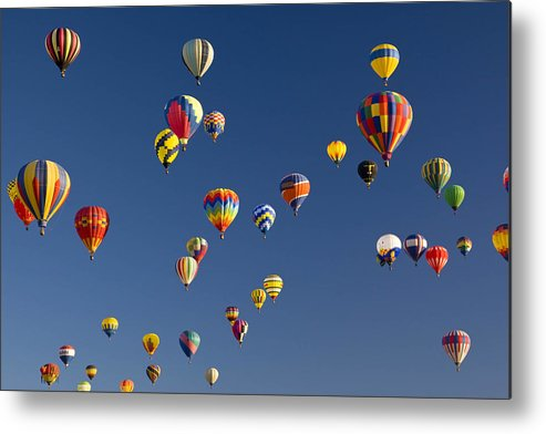 Albuquerque Metal Print featuring the photograph Many Vividly Colored Hot Air Balloons by Ralph Lee Hopkins