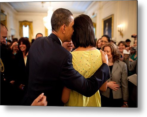 History Metal Print featuring the photograph President Obama Whispers Into Michelles by Everett