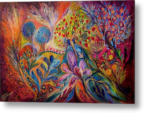 Original Metal Print featuring the painting The Trees Of Eden by Elena Kotliarker