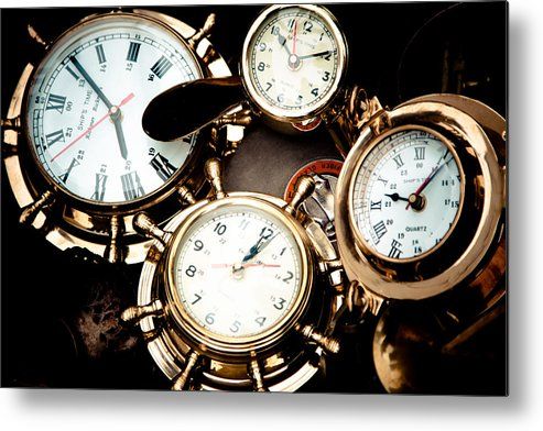 Old; Antique; Retro; Background; Style; Art; Decor; Decorating; Decoration; Grunge; Antiquities; Object; Old-fashioned; Classic; Collection; Valuable; Junk; Together; Gathered; Clock; Time; Watch; Metal; Vintage; Metal Print featuring the photograph Time by Gabriela Insuratelu