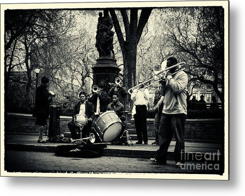 Filmnoir Metal Print featuring the photograph Band On Union Square New York City by Sabine Jacobs