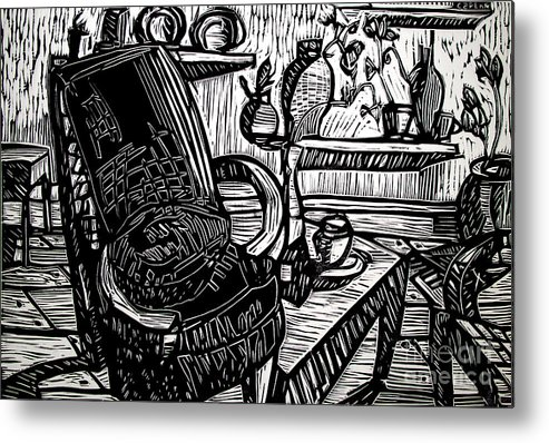 Chair Metal Print featuring the relief Chair Of My Dream Final Stage by Charlie Spear
