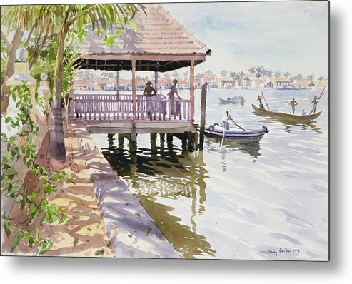 Canoe; Vietnam Metal Print featuring the painting The Jetty Cochin by Lucy Willis