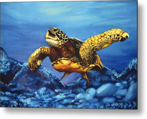 Turtle Metal Print featuring the painting Deep Blue by Kathleen Kelly Thompson