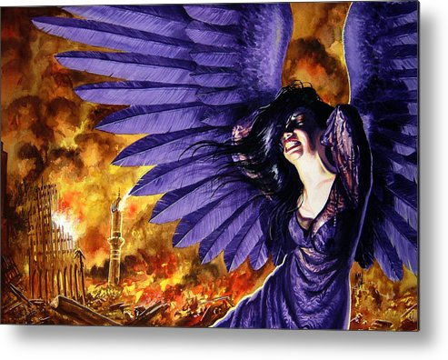 Political Commentary Metal Print featuring the painting Eye For An Eye by Ken Meyer jr