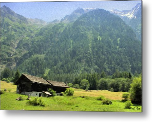 Switzerland Metal Print featuring the painting Swiss Mountain Home by Jeff Kolker