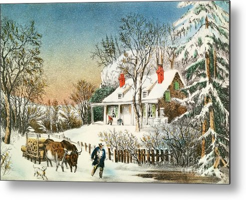 Bringing Metal Print featuring the painting Bringing Home The Logs by Currier and Ives