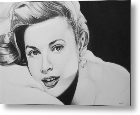 Grace Kelly Kelley Rear Window Actress Hollywood Cary Grant Charcoal Portrait Black And White Pencil Female Woman Metal Print featuring the drawing 'grace' by Steve Hunter