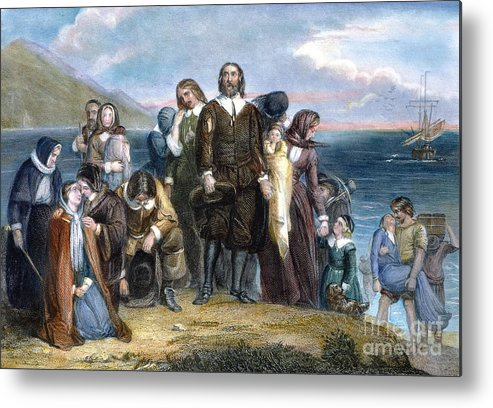 1620 Metal Print featuring the photograph Landing Of Pilgrims, 1620 by Granger