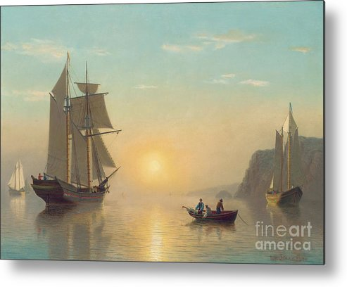 Boat Metal Print featuring the painting Sunset Calm In The Bay Of Fundy by William Bradford