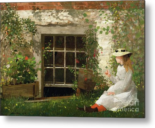 The Metal Print featuring the painting The Four Leaf Clover by Winslow Homer