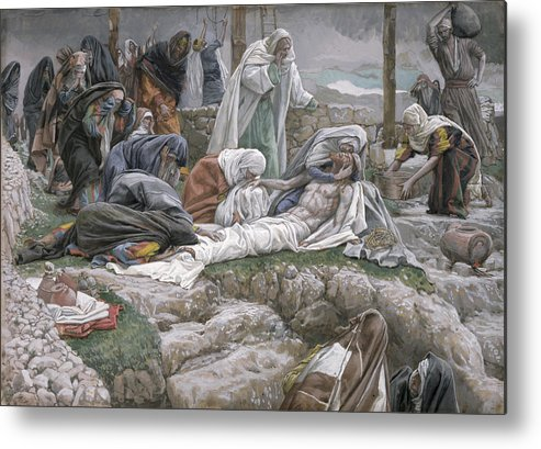The Metal Print featuring the painting The Holy Virgin Receives The Body Of Jesus by Tissot