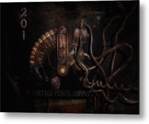Hdr Metal Print featuring the photograph Steampunk - Electrical - Rotary Switch by Mike Savad