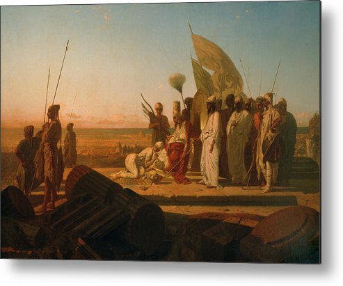 Xerxes At The Hellespont (oil On Canvas) By Jean Adrien Guignet (1816-54) Metal Print featuring the painting Xerxes At The Hellespont by Jean Adrien Guignet