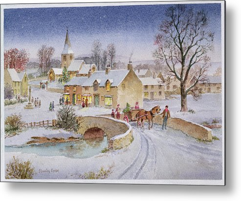 Rural; Snow; Winter; Horse And Cart; Tree; Evening; Bridge; Cross; Christmas Metal Print featuring the painting Christmas Eve In The Village by Stanley Cooke
