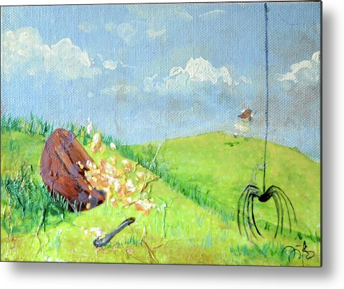 Itsy Bitsy Spider Metal Print featuring the mixed media Itsy Bitsy Spider by Jennifer Kelly
