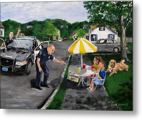 Police Metal Print featuring the painting The Lemonade Stand by Jack Skinner