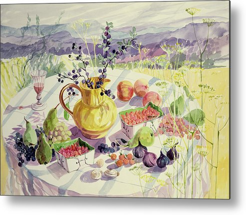 Flower Metal Print featuring the painting French Table by Elizabeth Jane Lloyd