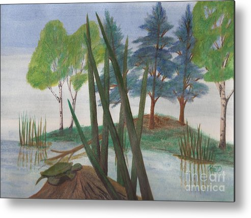 Turtle Metal Print featuring the painting Getting Some Sun by Robert Meszaros