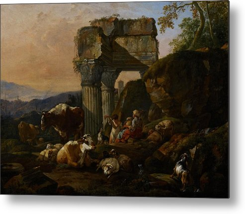 Roman Metal Print featuring the painting Roman Landscape With Cattle And Shepherds by Johann Heinrich Roos