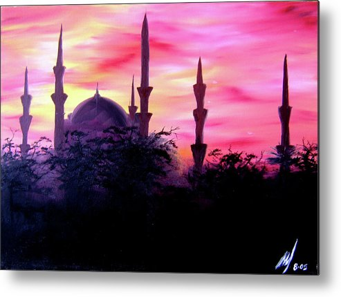 Painting Metal Print featuring the painting Baghdad Sunset by Michael McKenzie