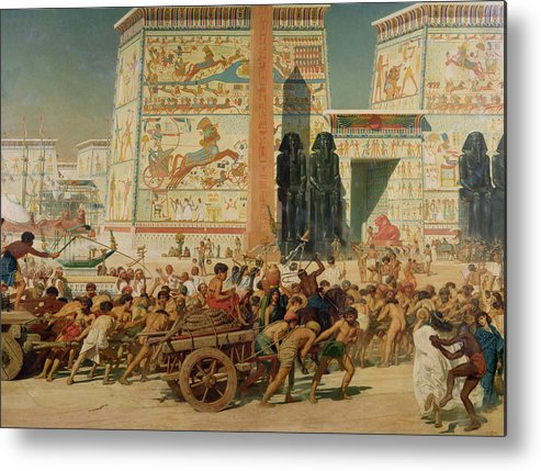 Temple Metal Print featuring the painting Wagons Detail From Israel In Egypt by Sir Edward John Poynter