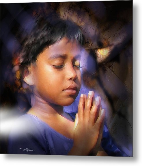 Girl Metal Print featuring the painting A Child's Prayer by Bob Salo