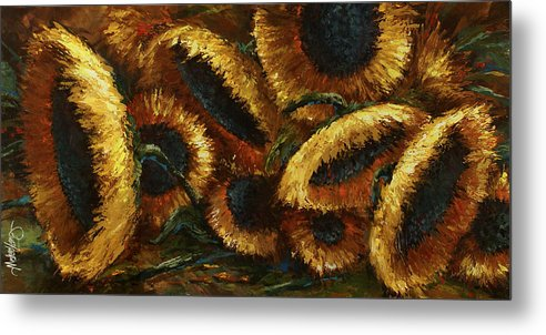 Sunflowers Metal Print featuring the painting Sunflowers by Michael Lang