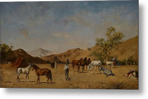 Arabian; Arabia; Middle East; Middle Eastern; Landscape; Desert; Horses; Horse; Mountains; Mountainous; Arid; Wilderness; Camp; Encampment; Travel; Travellers; Tent; Tents; Journey Metal Print featuring the painting An Arabian Camp by Eugene Fromentin