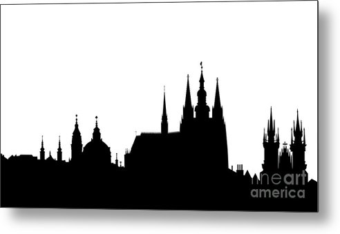 Hradcany Metal Print featuring the digital art famous landmarks of Prague by Michal Boubin