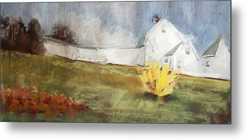Maine Landscape Metal Print featuring the pastel Slowly Comes Spring by Grace Keown
