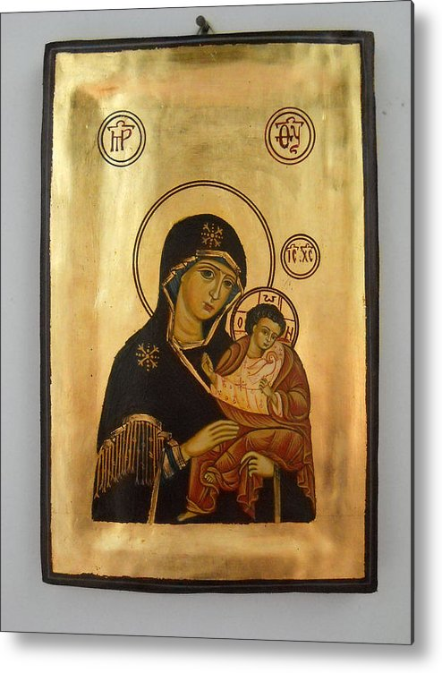 Religious Icons Metal Print featuring the painting Handpainted Orthodox Holy Icon Madonna With Child Jesus by Denise Clemenco