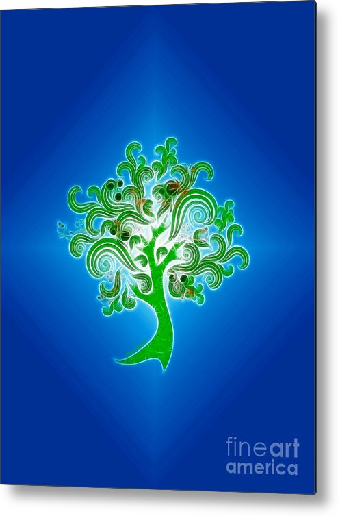 Abstract Digital Art Metal Print featuring the photograph Tree Of Life by Cheryl Young