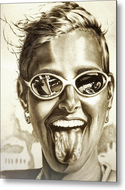 Portrait Metal Print featuring the drawing Fabulous by Dennis Rennock