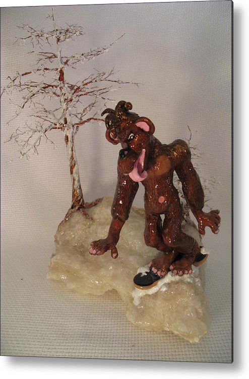 Metal Tree Metal Print featuring the sculpture Bigfoot On Crystal by Judy Byington