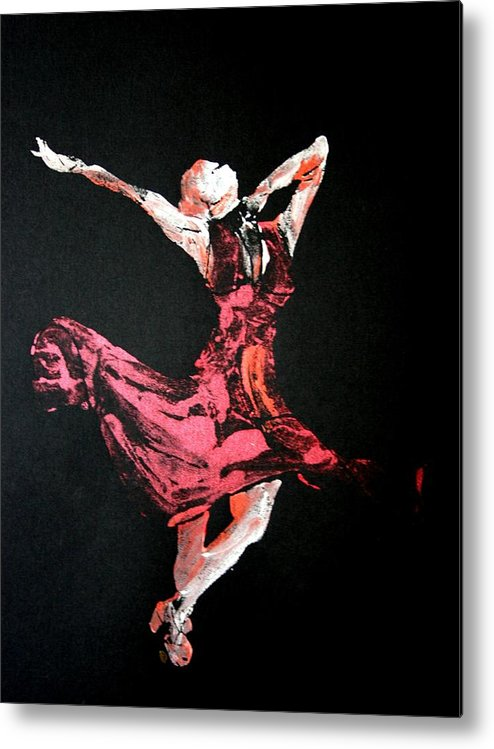 Lady In Red Metal Print featuring the painting Lady In Red by Ana Bikic