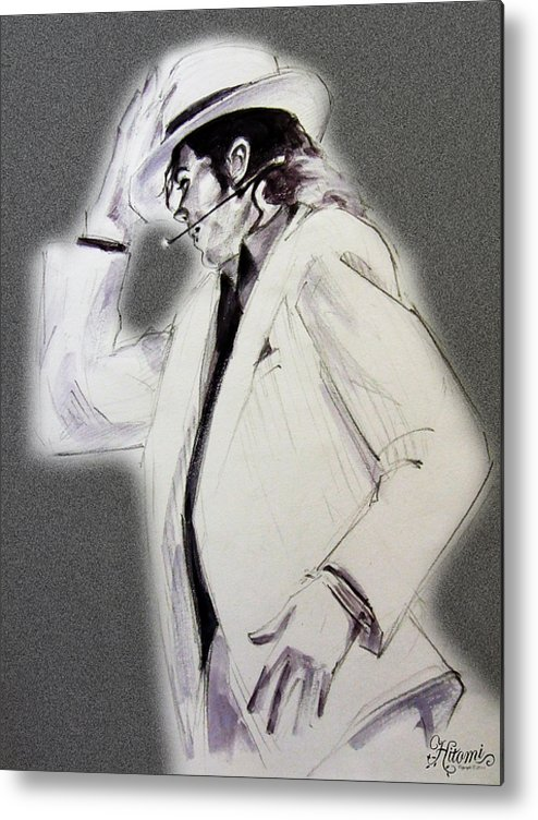 Michael Jackson Metal Print featuring the drawing Michael Jackson - Smooth Criminal In Tii by Hitomi Osanai