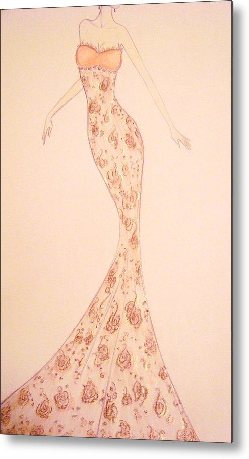 Damask Metal Print featuring the drawing Mandarin Damask Gown by Christine Corretti