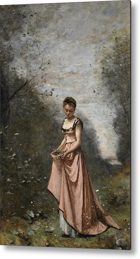 Female; Young Woman; Girl; Walking; Rural; Countryside; Woods; Collecting; Flowers; Dress; Serene; Tranquil; Peaceful; Youth; Youthful; Adolescent; Spring; Springtime Metal Print featuring the painting Springtime Of Life by Jean Baptiste Camille Corot