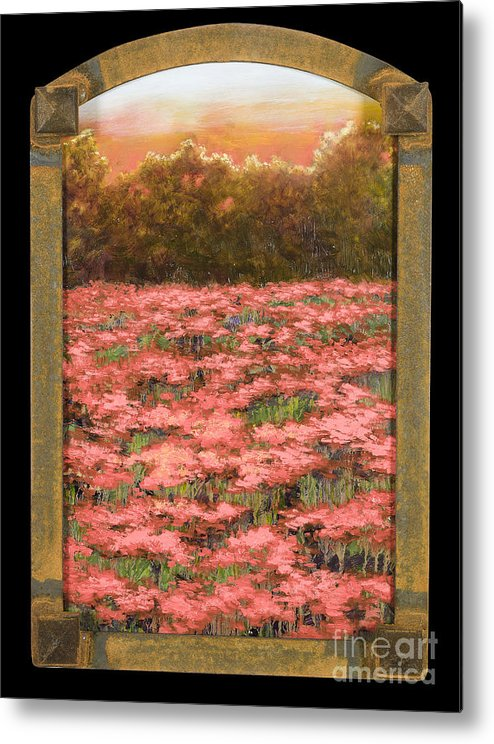 Poppy Metal Print featuring the painting Morning Poppy Fields With Gold Leaf By Vic Mastis by Vic Mastis